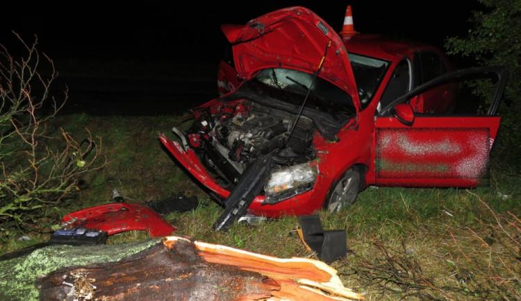 Řidič ve vysoké rychlosti narazil do stromu, skončil v nemocnici