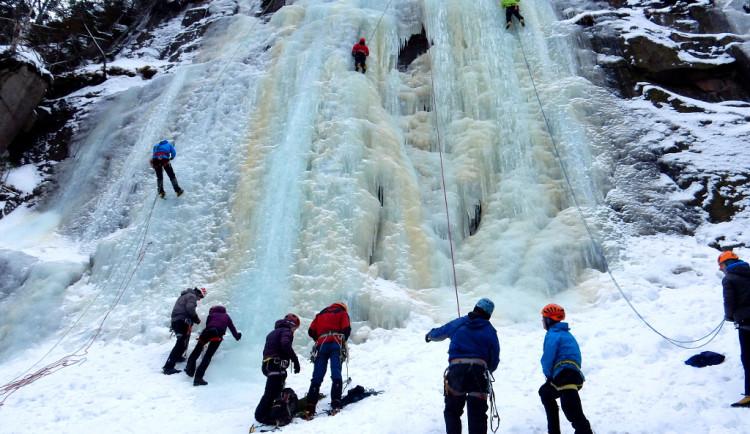 I letos v Labském dole vznikl velký ledopád. Láká lezce z celé České republiky